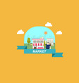 flat market scene on frame vector image vector image