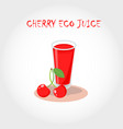 glass of bio fresh cherry juice text title vector image