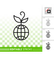 globe simple black line icon vector image vector image
