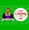 happy small dog in santa claus hat sitting and vector image vector image
