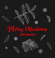 holly and pine christmas and new year greeting vector image vector image