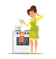 housewife trying the dish near the stove vector image vector image