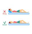 incorrect correct sleeping posture of woman vector image vector image