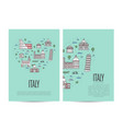 italy travel tour booklet set in linear style vector image