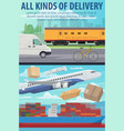 mail delivery by air plane ship or train vector image vector image