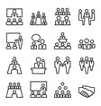 meeting conference line icon set vector image