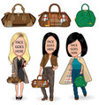 modern girls with bag vector image vector image