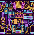music neon seamless pattern vector image