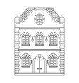 old european house flat outline drawing vector image vector image