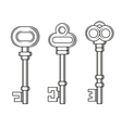 Old Vintage Keys Set on White Background vector image vector image