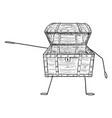 open empty treasure pirate chest cartoon vector image vector image