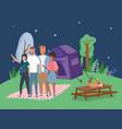 people taking selfie tent blanket camping picnic vector image vector image