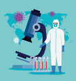 person with biohazard suit protection for covid19 vector image vector image