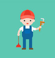 plumber cute character professional set flat vector image