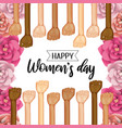 power hands up with roses to womens day vector image