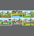 set flat nature scene vector image vector image