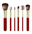Set of makeup brushes vector image vector image