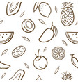 sketch of mix tropical fruits seamless pattern vector image vector image