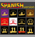 spanish set of number eleven 11 years vector image