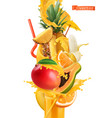 splash of juice and sweet tropical fruits mango vector image vector image