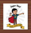 super dad happy fathers day card ribbon decoration vector image