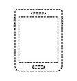 tablet device icon in black dotted silhouette vector image