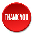 thank you red round flat isolated push button vector image vector image