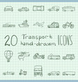 transport hand drawn icon set vector image