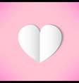 white paper heart on pink background vector image vector image