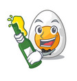 with beer freshly boiled egg isolated on mascot vector image