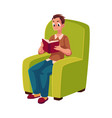 young man reading book sitting in comfortable vector image vector image