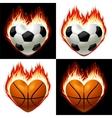 football basketball ball on fire vector image