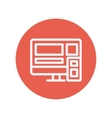Computer with speaker thin line icon vector image