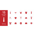 15 textile icons vector image vector image