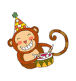 A drumming monkey vector image vector image