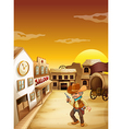 An old cowboy holding a gun outside the saloon vector image vector image