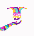 april fools day jester hat and hand vector image vector image