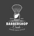 barbershop label isolated on black background vector image