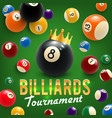 billiard balls and crown tournament 3d vector image vector image
