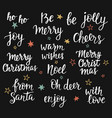 christmas holidays hand lettering set calligraphy vector image