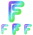 Colorful line letter f logo design set