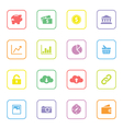 colorful web icon set 4 rounded rectangle frame vector image vector image
