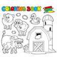 coloring book with farm animals 1 vector image vector image