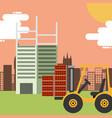 construction forklift building bricks vector image vector image