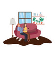 couple using smartphone in livingroom vector image vector image