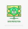 data protection thin line icon vector image