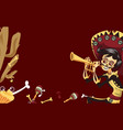 day of the dead man skeleton playing on trumpet vector image