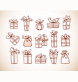 doodle sketch gift boxes in vintage style vector image vector image