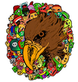 eagle doodle cartoon - hand drawing vector image