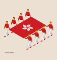eight people hold big flag vector image vector image